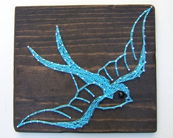 The Swallow: Vintage Bird Tattoo - Modern String Art Tablet