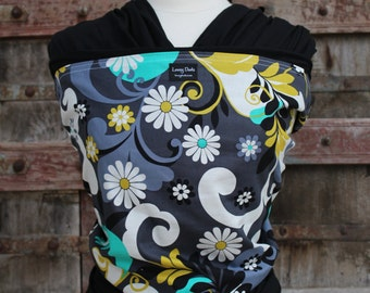 ORGANIC Cotton-Dandy Daisy On Black-Baby Wrap Sling Carrier- Black-Newborn to Toddler-DvD Include- One Size Fits All