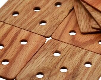 Weaving Tablets / Weaving Cards - 5 Hole Set of 24 - Handcrafted Of Oak For Tablet Weaving Card Weaving Inkle Looms Weaving Looms Viking Art