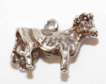 Vintage Milk Cow Sterling Silver Bracelet Charm / 3d Detail (2.2g)