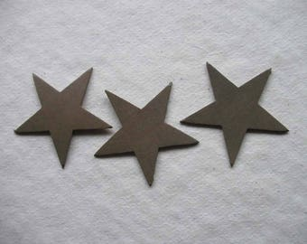 set of 3 small stars #14 leather