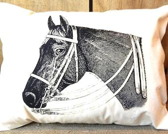 Horse Pillow - Full Size 100% Cotton Canvas - Pillow Form Included - Equestrian Pillow Farmhouse Decor