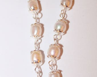 Earring dangle Freshwater Pearl silver Sterling and gold-plated