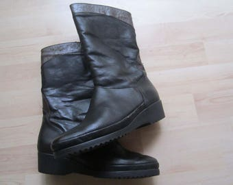 Vintage 80s warm boots leather wool 4/37