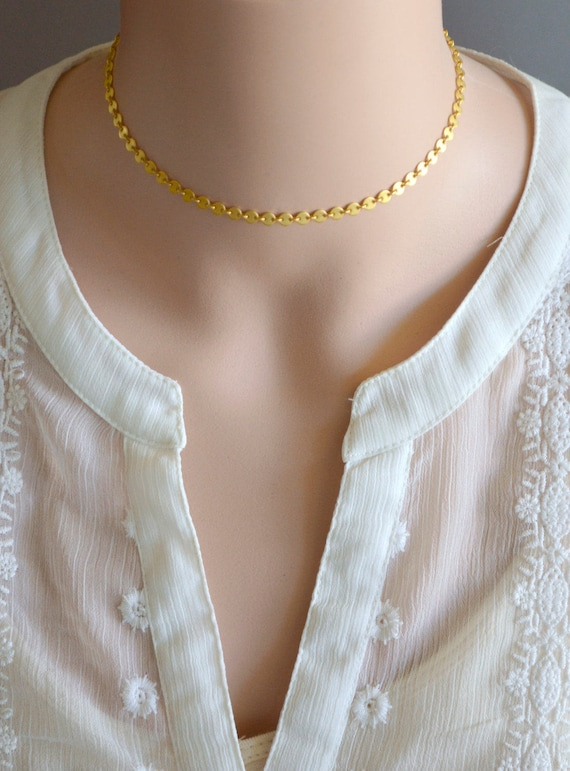 Gold Coin Choker Necklace - Matte Gold