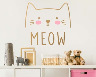 Cat Wall Decal   Cute Cat Decal, Kids Wall Decal, Nursery Decal, Removable