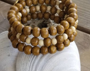 3 Coil Natural Wood Bead Bracelet