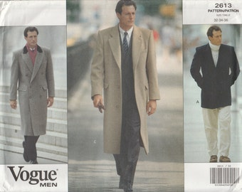 Mens Coat Pattern Lined Long Double-Breasted Pea Coat Mens Size 32 - 34 - 36 Uncut Vogue 2613