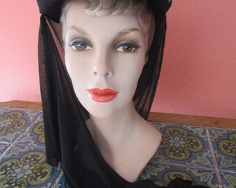 Original Movie Modes Rayon Veil Snood Scarf Hat Vintage Hollywood Caspar Davis Film Noir