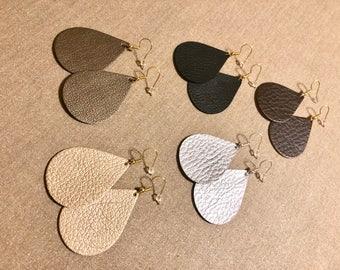 Vegan Faux Leather teardrop earrings | Vegan leather tear  drop earrings | leather teardrop earrings | leather earrings