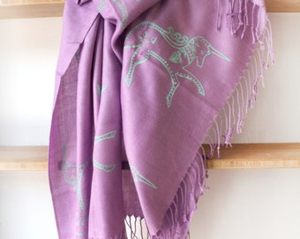 SIlk Blend Printed Folk Unicorn Scarf Orchid/Green