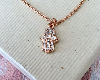 Hamsa hand evil eye necklace, rose gold jewelry, protection charm, cubic zirconia pave N327R