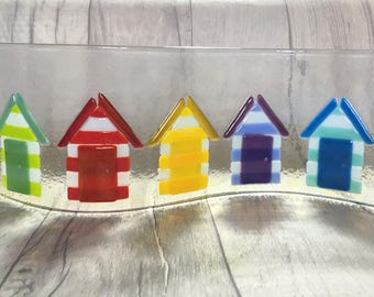 Fused Glass Art, Beach Hut Art, Beach Decor, Tea Light Holder, Rainbow Glass, Beach Theme, Beach Art, Candle Holder, Glass Art, Seaside Art