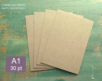 """25 A1 Chipboard Pieces, 30 pt .030"""" Recycled Chipboard, 3 1/2 x 4 7/8"""" (89x124mm) or 3.5x5"""", legal pad backing thickness, kraft brown"""