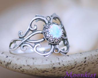 Opal Engagement Ring - Sterling Silver Opal Promise Ring - Opal Vine Ring - Botanical Ring - Victorian-Style Opal Ring - Opal Statement Ring