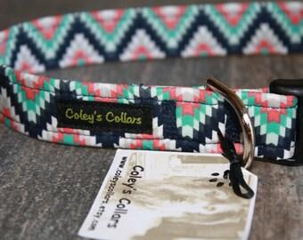 """Aztec Dog Collar, Dog Collars, Dog Collar, Tribal Dog Collar, Southwestern Dog Collar, Boy Dog Collar, Girl Dog Collar, """"The Aztec in Navy"""""""