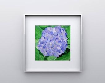 Blue Hydrangea Print from Original Watercolor