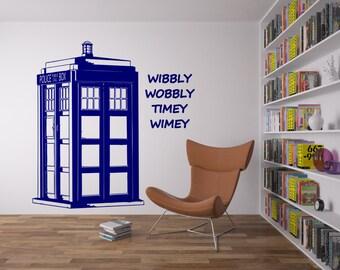 Tardis-Wibbly Wobbly Timey Wimey wall graphic