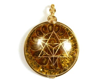Ammonite with 22k Gold Star Tetrahedron (collaboration with Sacred State Design) - Orgone Pendant