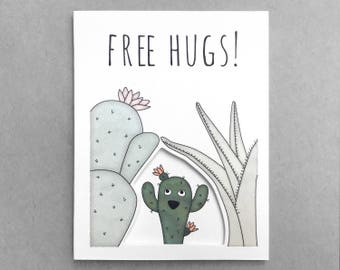 Funny friend card   Thinking of you card for mom Best friend card Boyfriend card for girlfriend Love card Cactus card Free hugs Succulent