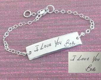 Handwriting Bracelet, Your loved ones Handwriting or Signature in a fine silver bracelet. Personalized Jewelry. Fine Silver.