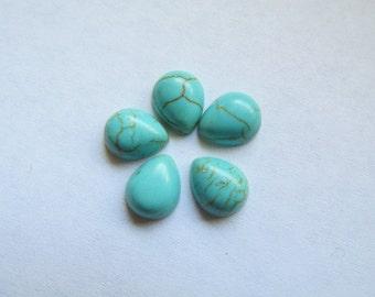 Turquoise flat back teardrop cabachons (5pcs)  #ECab-2 - 8x10mm