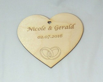 Personalized wooden heart 10 cm wedding decor gift with your engraving of names and date