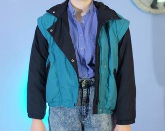 Obermeyer Ski Winter Jacket Teal and Black // Ladies size 6 Faux-Vest Zipper Pockets