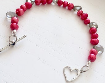 Red River pearls and Topaz drops bracelet