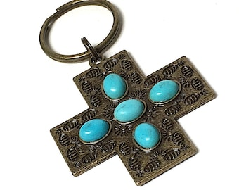 Pewter Patina Turquoise Cross Keychain with lava bead for essential oils, keyring, teal cross, Catholic Keychain, Essential Oils Keychain,