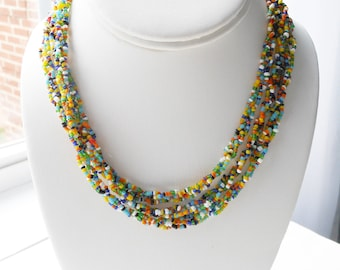 Vintage Long Seed Bead Necklace