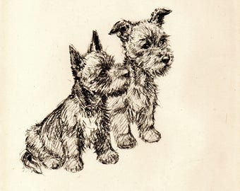 "1942 Vintage DOG PRINT from a book of Sketches by K.F. Barker ""What's Doing?"""