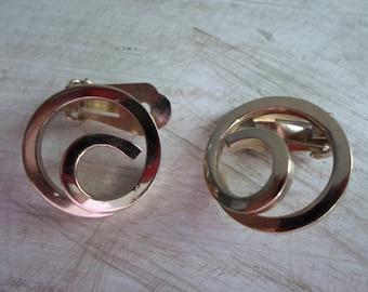 Mid Century Earrings, Bergere Clip On Earrings, Vintage Signed Earrings, Gold Tone Earrings, Gold Clip On Earrings, Vintage Earrings,