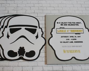12 Handmade Personalized Star Wars Storm Trooper Party Invitation Cards