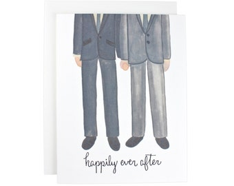 Happily Ever After Gay Couple greeting card, engagement, wedding, couple, calligraphy