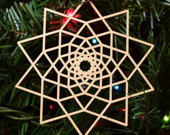 10 Sided Star Fractal Holiday Ornament - Laser Cut Wood Wooden Sacred Geometry