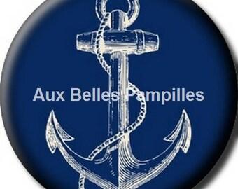 Round cabochon resin 25 mm - craft anchor blue (1242) - sea, marine