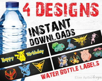 Pokemon Water Bottle Label, Pokemon Label, Pokemon Water, Pokemon Favor, Pokemon Party, Pokemon Birthday,
