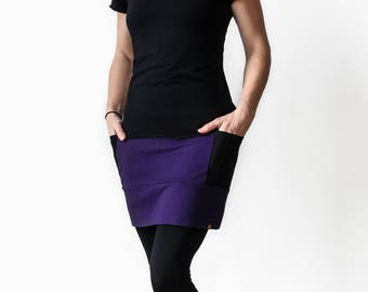 Mini Skirt with pockets soy organic cotton french terry purple and black; burgundy
