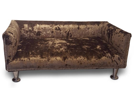 Luxury Memory Foam Crushed Velvet Dog Bed Sofa With Studs And Chrome Legs Bespoke Handmade