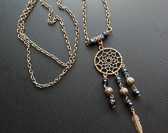 Blue bronze pendant Dreamcatcher jewelry  Gift to her  Tribal pendant Boho jewelry