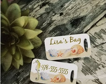 One double-sided ocean seashell luggage tag Custom - Personalized with name, Color, Unique gift