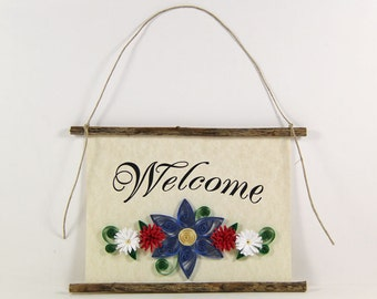 Paper Quilled Welcome Sign, 3D Quilled Banner, Patriotic Flower Decor, Country Wall Art, Red White Blue Decor, Housewarming Gift, Foyer Art