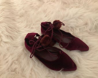 Red velevt womens tie up flats size 6.5