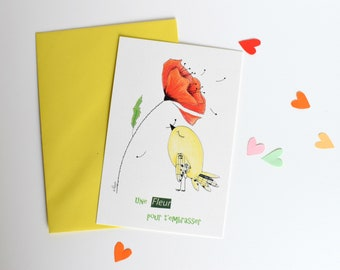 Mother's day card, printed postcard, pencils illustration, illustrated card, greeting card, bird card, poppy illustration