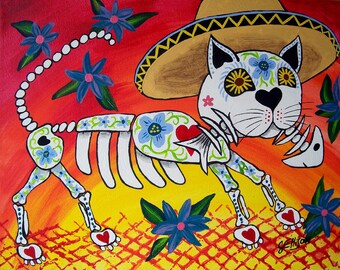 """Day Of The Dead """"Felix and the Fish"""" 8x10"""" Cat Kitty Fish Art Print Poster Mexican Folk Artist J Ellison Multiple Sizes Available"""