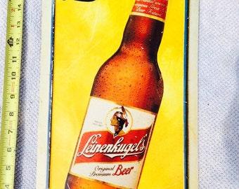 Vintage Leinenkugels metal Beer sign.   Rare misprint or embossing mistake!!!