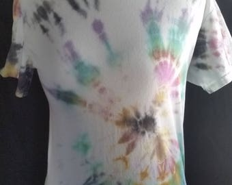Tie dyed iris adult small shirt