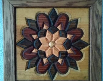 Star Quilt Red and Golden Oak