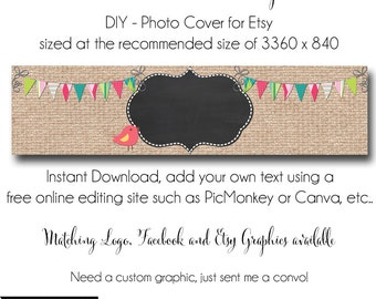 Burlap Etsy Cover Photo - Add your own Text, Instant Download, Burlap Bird, New Cover Photo For Etsy, Made to Match Graphics